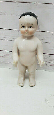 """Frozen Charlotte German Doll Glazed China Arms Extended 6.75"""" Boy Antique Rare"""