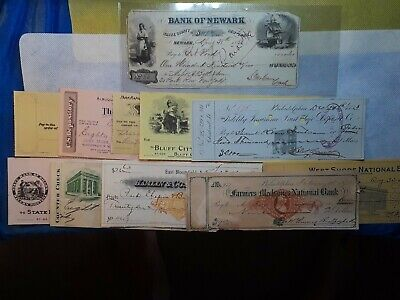 Bank Check, Awesome obsolete note from Bank of Newark 1853. Beautiful Artwork!
