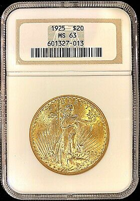 1925 - $20 American Gold Double Eagle Saint Gaudens MS63 NGC Luster Beauty Coin!
