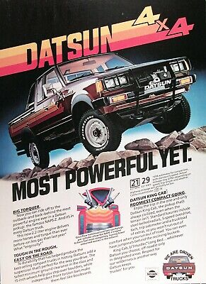 1981 DATSUN 4x4 KING CAB Genuine Vintage Ad & 3 Pg. Mag. Review ~ Specifications