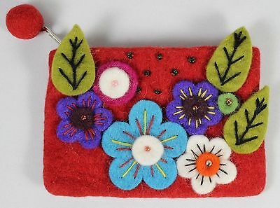 HANDMADE FELTED ZIPPER CLUTCH PURSE Makeup Coin Bag NEW Nepal Fabric Art Craft