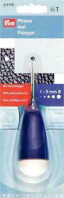 Prym 610935 | Ergonomic Awl | With Point Protector Holes 1 - 5mm for Neck Cord