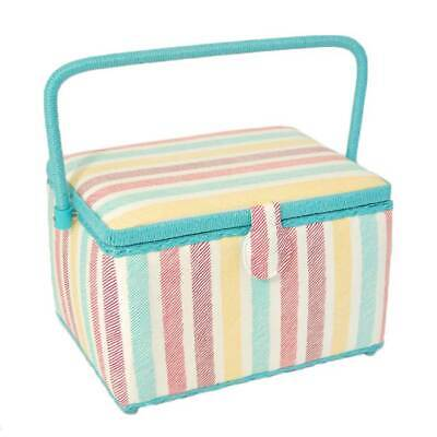 Deep Rectangular Sewing Box with Wicker Handle, Cushioned Lid, & Magnetic Clasp