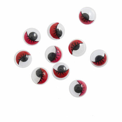 Trimits | Toy Eyes Googly with Lashes: Glue-on: 7mm: Red: 500 Pack | TC007R