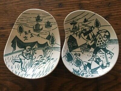 MCM Nymolle Art Faience Nut Trinket Dishes (2) Hoyrup Denmark Limited Ed 413a