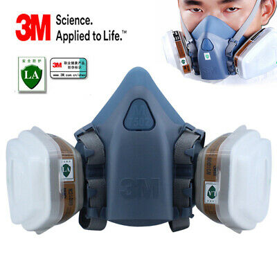 3M 7502 7 Piece Suit Half Face Respirator Painting Spraying Face Dust Gas Mask