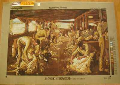Large Tapestry canvas to stitch,Tom Roberts, Sheep shearing, 106 cm x 75 cm.