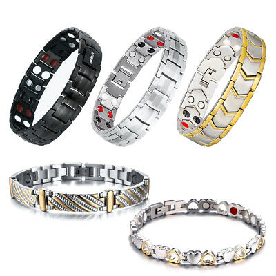 4Elements Titanium Steel Magnetic Far Therapy Negative Ions Bracelet Pain Relief
