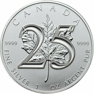 2013 CANADA $5 Canada 25th anniversary silver maple leaf pure silver 1 oz.