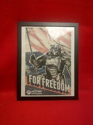 8x11 Botherhood of Steel Propoganda Fallout Poster With Included Glass Frame