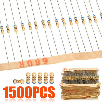 1500pcs 1/4W 75 Values Carbon Film Resistors Assorted kit 5% 1 ohm~ 10M ohm
