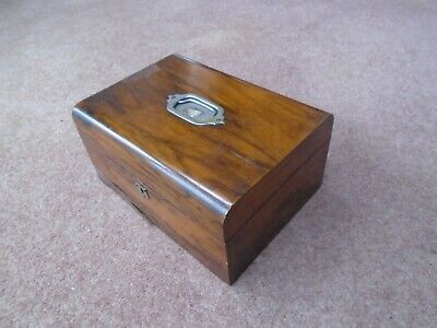 Antique Vintage Mahogany Sewing Box Desk Top  Storage Box With Tray & Handle