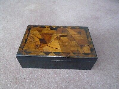Antique Large Vintage Oriental Wood Inlaid Writing Slope Desk Top Stationery Box