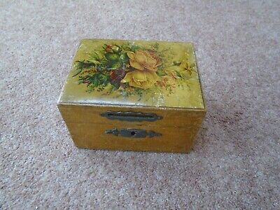 Vintage Collectable Pine Wood Decorated Moneybox Wooden Cash Box