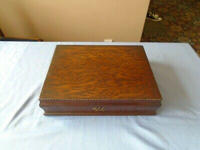 Vintage  Bead Style Oak Wood Canteen Of Cutlery Box Wooden Storage Display Box