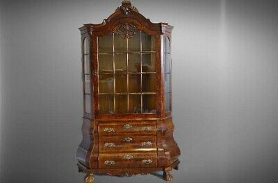 Antique Vintage French  Louis XV China Cabinet Vitrine Walnut, Marble top