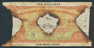 "New Zealand: UNION BANK of AUSTRALIA 1923 10/- ""FIRE DAMAGED"" PS371a Cat F $3000"