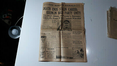 Death Ends Stalin Career; Kremlin Begs Unity The Boston Herald 20 Pages 3 6 1953