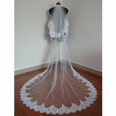 Wedding Cathedral Ivory Veil 2 Tier, 3 m in length with sequins lace all around