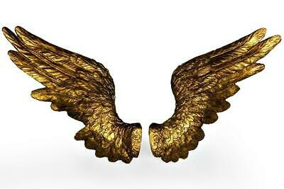 ANTIQUE GOLD PAIR of ANGEL WINGS WALL HANGING