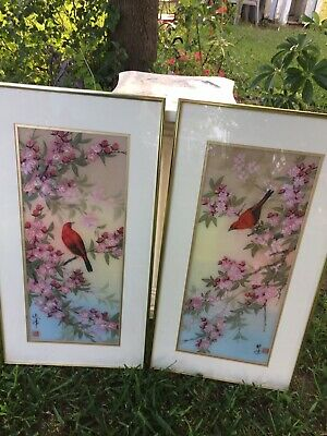 Vintage Cherry Blossom Red Bird Signed Painted silk Asian Oriental Art