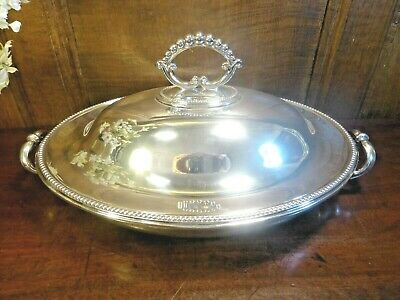 ANTIQUE HEAVY Silver Plated DANIEL & ARTER HOT WATER ENTREE/SERVING DISH