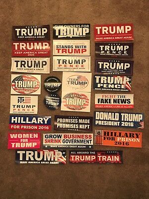 Lot Collection of 25 Donald Trump Mike Pence For President Bumper Stickers 2016