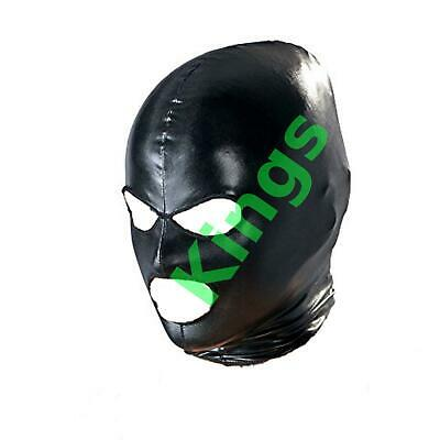 Spandex Wet Look Hood Full Mask Open Mouth 3 Hole Stretchy Black Gimp Mask Hood