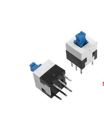 10PCS 8X8mm Blue Cap Self-locking Type Square Button Switch NEW GOOD QUALITY SW1