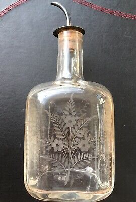 Hallmarked Sterling Silver Top Fern And Floral Etched Glass Perfume Bottle