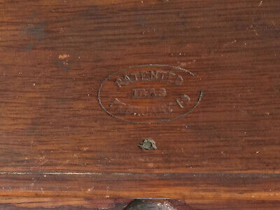 Oak Dovetail Folding Sewing Puzzle Box with attachments Patented 1889 Singer (?)