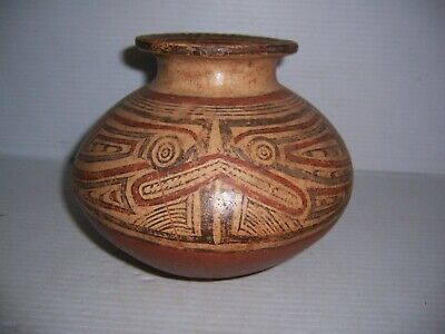 Pre-Columbian Panama Cocle Pottery Olla Jar with Saurian Lizard Creature 6 1/4""