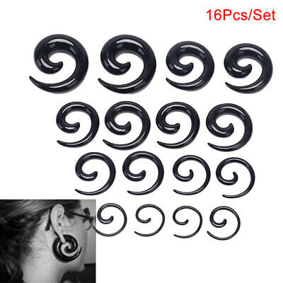 16Pcs/Set Spiral Taper Flesh Tunnel Ear Stretcher Expander Stretching Plug Sna V
