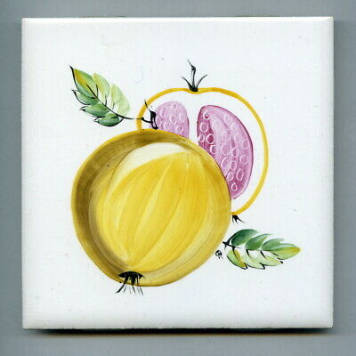 """Handpainted 4.25""""sq tile from the """"New Fruit"""" series by Packard & Ord, 1969"""