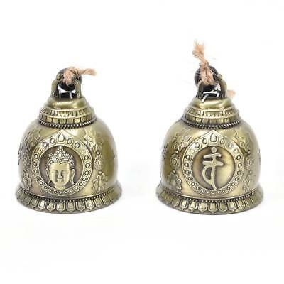 Home Car Hanging Decor Buddha Statue Pattern Bell Blessing Feng Shui Wind Chime