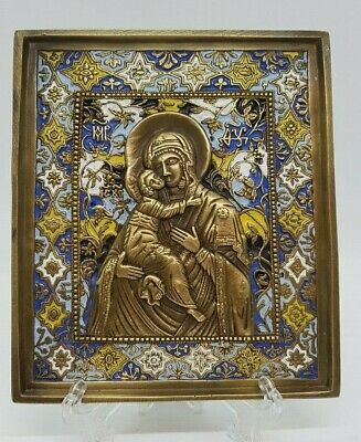 Russian orthodox bronze icon The Virgin of Vladimir. Enameled.
