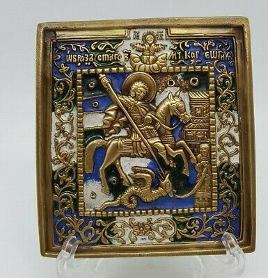 Russian orthodox bronze icon Great Martyr St.George and The Dragon. Enameled.