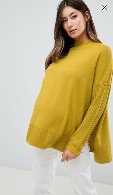 ASOS Piccalilli Yellow Maternity Nursing Boxy Jumper With Side Splits - Size 12