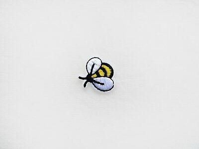 1x small bee PATCH Embroidery badge Iron On Embroidered Applique black yellow