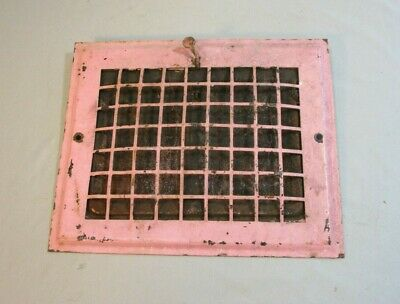 Antique Wall Vent, Working Condition, Vintage Pink Paint, 1920's Grate