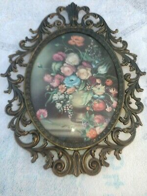 """Vintage Made in Italy Convex Bubble Glass Metal Framed Floral Picture 13""""h 10""""w"""