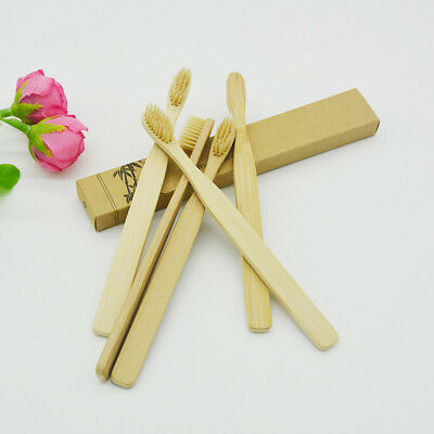 New Bamboo Toothbrush Wood Handle Khaki Soft Bristles For Adult Oral Care 10Pcs