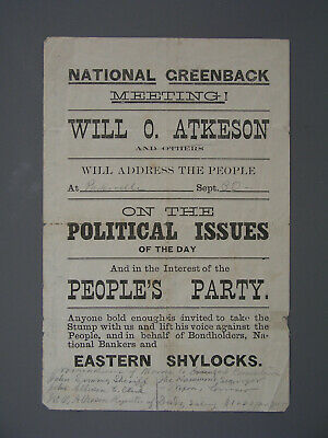 [James B. Weaver]: Circa 1880 Kansas People's Greenback Party Handbill