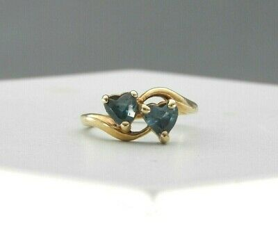 Vintage Ring Solid 10K Yellow Gold Heart Genuine Blue Spinel Stone Cocktail 4