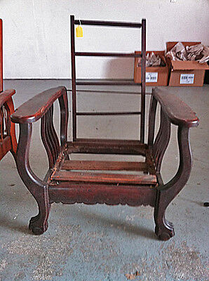 Dark All Original Antique Morris Reclning Chair W/ Claw Feet To Refinish
