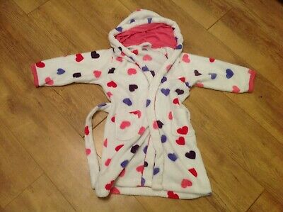 F&F Girls White with Hearts Dressing Gown Age 5-6 Years (Lovely and soft)
