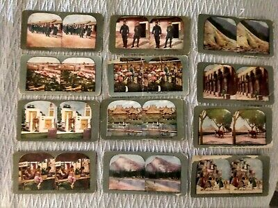 12 Vintage Views of the World Stereopticon Viewer Cards Stereoviews