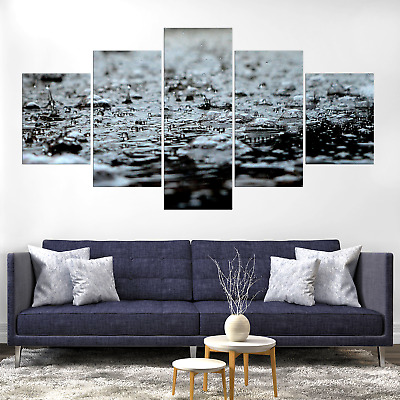 Rain B&W Abstract Canva Print Painting Framed Home Decor Wall Art Picture Poster