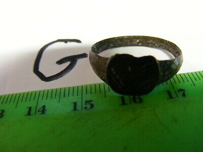 Ancient  Roman Bronze Ring,Rowed ship design  20mm size.(G).