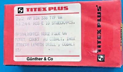 Titex plus 10 Piece Spiral Drill short 2,2 mm for VA Din 338 Typ-Va A1244 HSSE